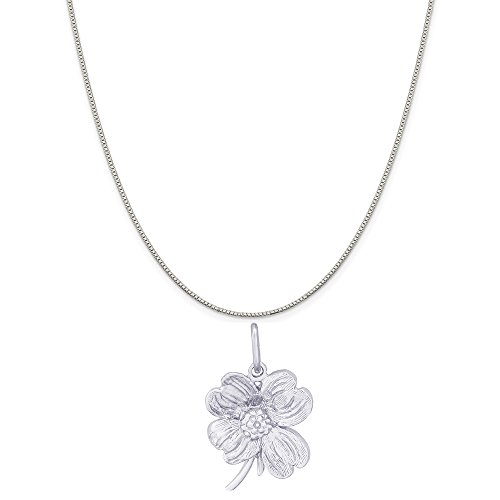 Rembrandt Charms Sterling Silver Dogwood Flower Charm on a Sterling Silver Box Chain Necklace, 18