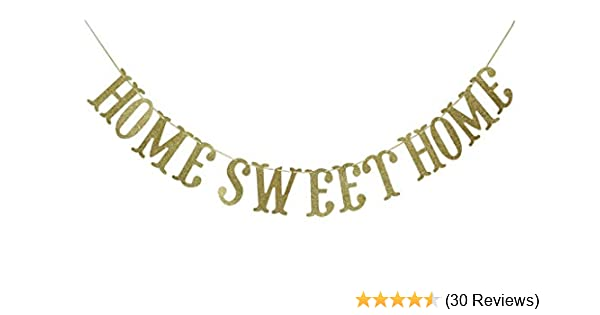Gold Home Sweet Home Gold Glitter Banner for Housewarming Patriotic Military Decoration Family Party Supplies Cursive Bunting Photo Booth Props Sign Qttier