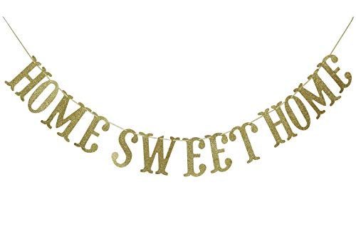 Home Sweet Home Gold Glitter Banner for Housewarming Patriotic Military Decoration Family Party Supplies Cursive Bunting Photo Booth Props Sign (Gold)