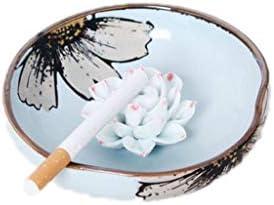 灰皿 , クリエイティブセラミック灰皿ホームデコレーション灰皿青と白の手描き (色 : B, サイズ : 12.5*3cm)
