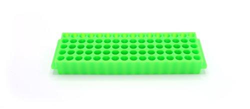 Heathrow Scientific HS29025C Microtube Rack, 80 Wells, Polypropylene, Green (Pack of 5)