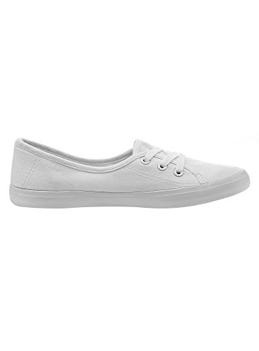 oodji Ultra Women's Basic Cotton Canvas Shoes White (1000n) yX5bNKI