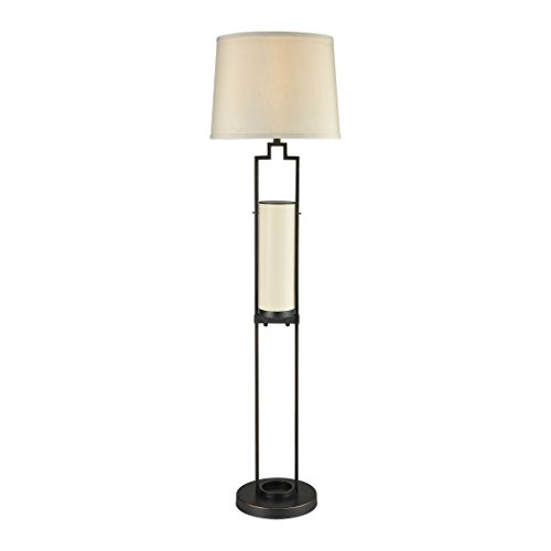 Dimond Lighting D3292 San Rafael - One Light Outdoor Floor Lamp, Oil Rubbed Bronze Finish with Milk Glass with Sandstone Linen - Outlet Rafael San