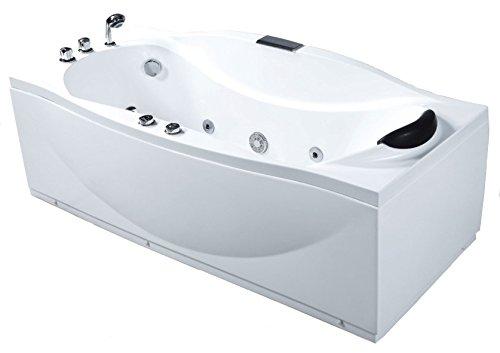 EAGO AM189-L White Acrylic Left Drain 6' Whirlpool Jetted Bathtub - Bath Whirlpool 6'