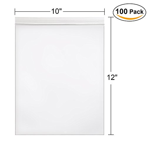 Hengu Poly Self Sealing Bag , Big Clear Reclosable Storage bags for Home/Party/Office, 10x12