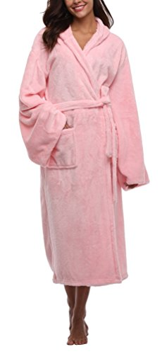 - Hooded Plush Fur Bath Robe Fuzzy Long Warm Nightwear Super Soft Terrycloth Robes Spy Nightgown for Women Pink