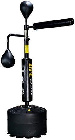 スタンドで自立パンチングバッグ、家庭での訓練のためにボクシング機器、レフレックスバッグスピードボールボクシングダミー、大人&キッズのための高さ調節 (色 : 黒)