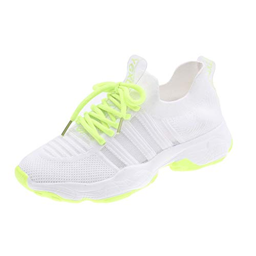 2019 New Womens Soft Bottom Mesh Sports Shoes,Lace Up Mix Color Athletic Neutral Breathable Cool Feel Running Wedges Shoes (Green, US:5)