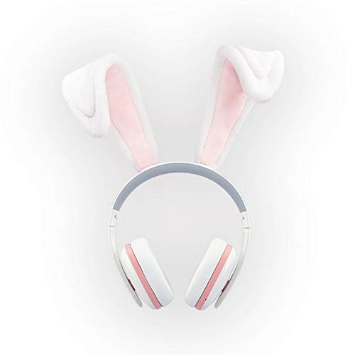 Rabbit Ear Headphones for Girls - Censi Rabbit Headphones Wireless Over Ear Bluetooth Headsets with Mic for Girlfriend, Wife, Women, Kids, (White+Pink, Bluetooth)