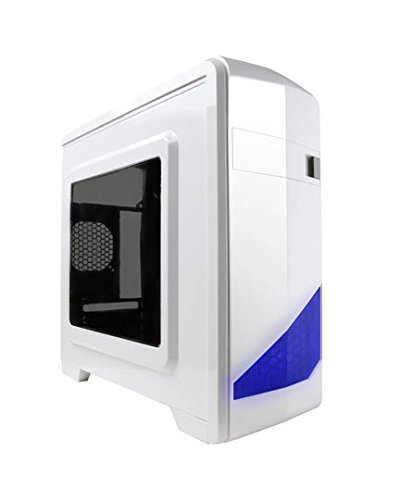 APEVIA X-QTIS-WHT Micro ATX Gaming/HTPC Case, Supports Video Card up to 340mm/ATX PS, 1 x Window, USB3.0/USB2.0/HD Audio Ports, 1 x 120mm Blue LED fan, Dust filter, White