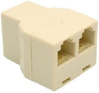5x RJ12 6P4C Telephone//Phone Line 1 Male to 2 Female Modular  Adapter Ivory