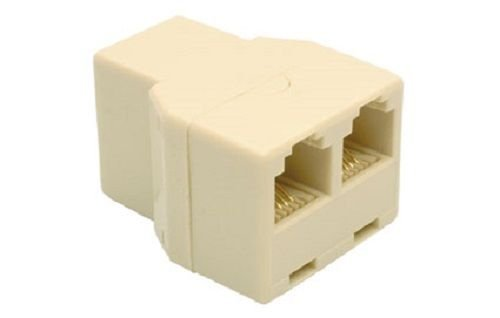 RJ11 Telephone Duplex Adapter, Phone Line Y-Splitter (3 Sockets), Ivory, 6P4C Modular Coupler