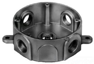 Thomas & Betts DS-48 Silver Round Outlet Box with 5 Outlets, Cast Mounting Lugs, 4 Closure Plugs and Ground Screw, Box Material-Die Cast Aluminum, Diameter-4 1/8'' and Hub Size-3/4''
