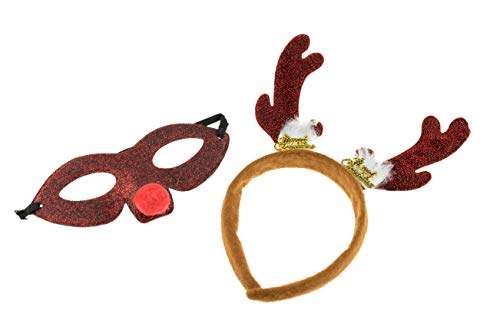 Christmas Reindeer Antlers Headband and Eye Mask | One Size Fits Most | Sparkled Red and Black Christmas Headwear ()