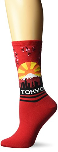 (Hot Sox Women's Travel Series Novelty Fashion Crew, Tokyo (Red), Shoe Size: 4-10)