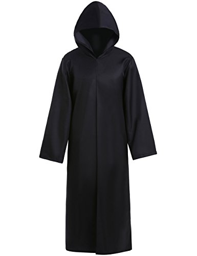 Beskie Unisex Halloween Chirstmas Cape Hooded Cloak Jedi Robe Cosplay Party Knight Hoodie Costume for Adult(Real Picture) Black