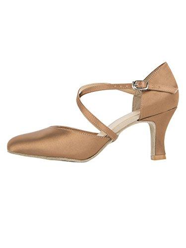 Zapatos baile mujer cómodos y elegantes con tiras cruzadas de So Danca para Salsa Rumba Tango Latino Danza Baile Salón BL156 Suela de cromo tacón 6,5 cm satín negro burdeos cobre cobre