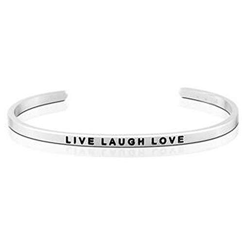 Jude Jewelers Stackable Stainless Steel Inspiration Mantra Cuff Bangle Bracelet Graduation Gift (Live Laugh Love)