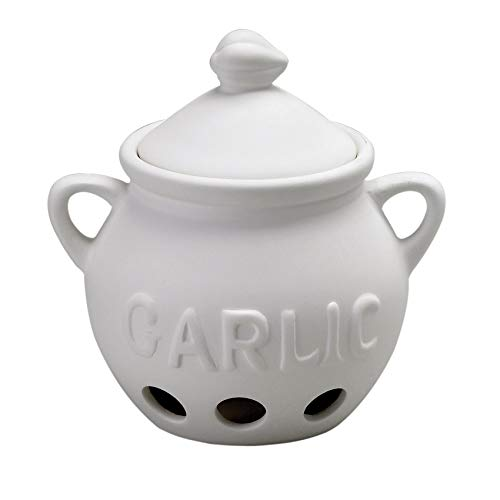 HIC Harold Import Co. Garlic Clove Keeper White Vented Ceramic Storage Container With Lid, 5.25