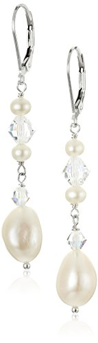 Sterling Silver Baroque Freshwater Cultured Pearls and Crystal AB Swarovski Element Drop - Ab Crystal Dangle Swarovski