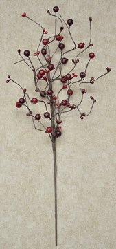 (Country Berry Spray Branch Burgundy & Red Pips Primitive Floral Décor )