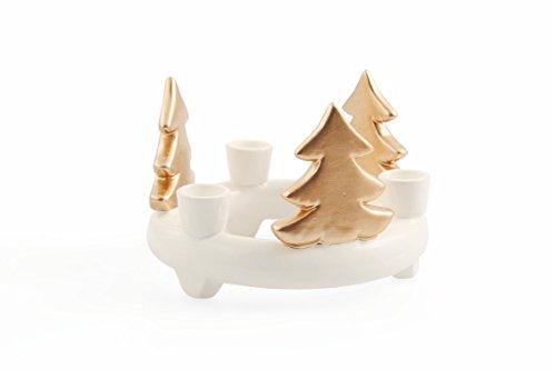 Galileo Casa Natale Candelabro, Ceramica, Bianco/Rame, 16.5x16.5x11 cm, 2411904