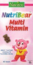 Navitco. NutriBear Multi Vitamin w/ Iron Chocolate Flavored Dairy Cholov Yisroel - 60 Bears -