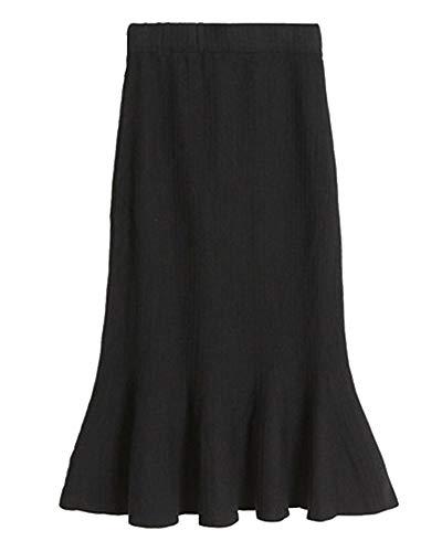 Taille en De Slim Midi Queue Jupe Tricot Taille Poisson Femme Coupe Jupe Yonglan Haute Noir lastique en Jupe 1SF8nZUt