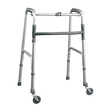 Andador plegable, de altura ajustable con 2 topes y 2 ruedas ...
