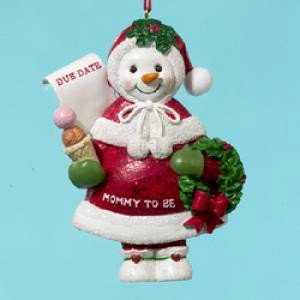Mommy To Be Pregnant Baby Bump Snowman Christmas Tree Ornament 72