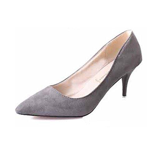 Fashion da donna, tacco a stiletto, tacchi alti, colore solido, semplice, sandali in camoscio a punta, scarpe comode, grigio (Grey), 39