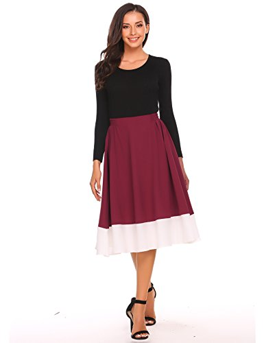 Zeagoo Women Fashion Pull-On Elastic Waist Knee Length Patchwork A-Line Skirt