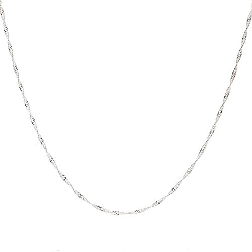 925 Sterling Silver 2 MM Singapore Chain Italian Crafted Necklace Sturdy Lightweight Strong - Lobster Claw Clasp 18 (Necklace 925 Silver Clasp)