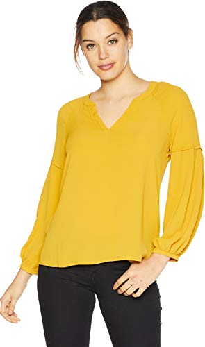 (Vince Camuto Womens Bubble Sleeve Soft Texture V-Neck Blouse Honey Pot MD)