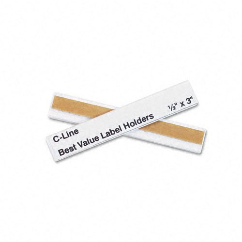 C-Line : Peel and Stick Repositionable Top-Load Label Holders, 1/2 x 3, Clear, 50/Pack -:- Sold as 2 Packs of - 50 - / - Total of 100 Each by C-Line