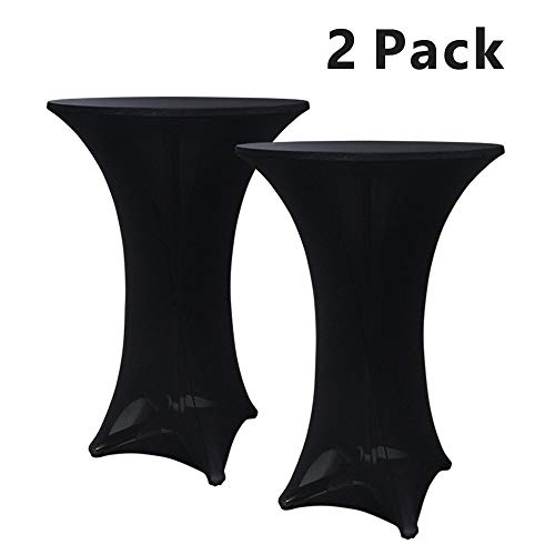 Hipinger 2 Pack 30 inch Highboy Cocktail Round Spandex Table Cover Four-Way Tight Fitted Stretch Tablecloth Table Cloth for Outdoor Party DJ Tradeshows Banquet Vendors Weddings(30''X42''(2PC),Black)