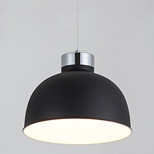 Light Bowl Shade Fixture - YUNJI Industrial Style 1-Light Pendant Light Adjustable Ceiling Light Fixture with Bowl Shape Shade for Living Room, Restaurant, Hotel, Matte Black