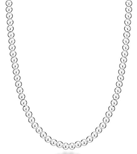 MiaBella 925 Sterling Silver 6mm Bead Ball Strand Necklace Jewelry for Women Teen, 16