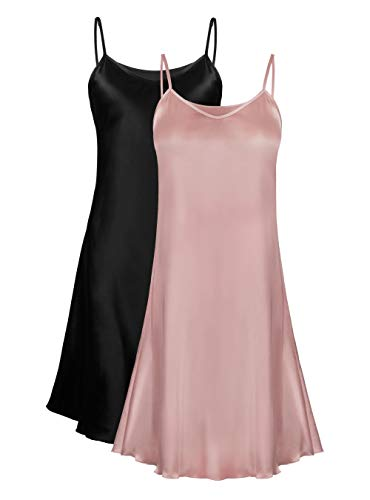 Femofit Stain Nightgowns for Women Silky Satin Full Slip Sleepshirt 2 Pack S~2XL (Black+Pink, XL) ()