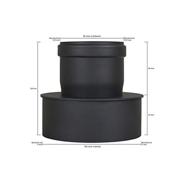 Adattatore per la canna fumaria, espansione per il tubo del camino e della stufa a pellet, diametro interno: 80 mm 4 spesavip