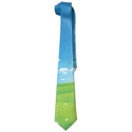 Flowers New Necktie - New Classic Cartoon Scenery Clouds Valley Hills Grass Sunbeams Flowers Artprint Men's Tie Necktie Bow Ties Wedding Party