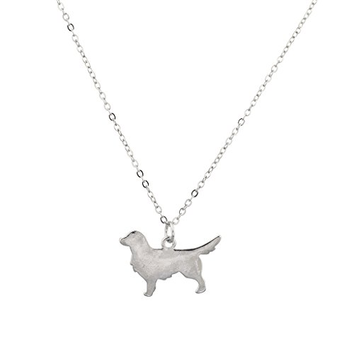 - Lux Accessories Silvertone Dog Golden Retriever Shaped Charm Pendant Necklace
