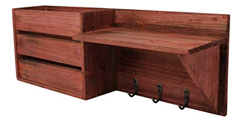 Cherry Torched Wood Rustic Wall Mounted Key & Mail Holder/Organizer with 3 Key Hooks, 1 Compartment, and Shelf - for Entryway or Mud Room - Holds Documents, Bills, Letters, Keys and More (Vintage Mail Wall Organizer)