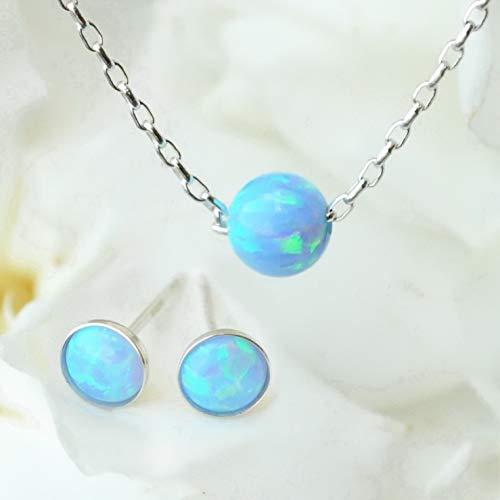 (Handmade Opal Bead Necklace + Free Stud. 16