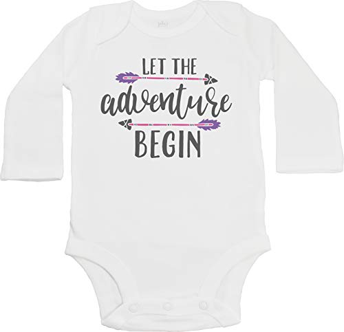 - Jaka's Closet Let The Adventure Begin -Tribal Birth Reveal Pregnancy Announcement (Newborn Long Sleeve Bodysuit, Pink & Purple)