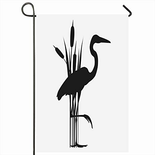 "Ahawoso Outdoor Garden Flags 28""x40"" Inch Egret Blue Heron Reeds Stands On One Wing Leg Wildlife Nature Water Great Marsh Standing Design Vertical Double Sided Home Decorative House Yard Sign"