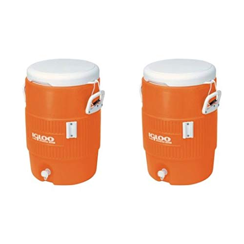 Igloo 5 Gallon Seat Top Beverage Jug with Spigot (Orange, 2 Pack)
