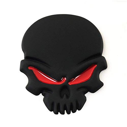 FineFun 2 Pcs New 3D Metal Skull Logo Emblem Sticker Car SUV Body Exterior Cover Fender Decals DIY Car-Styling 3D Stickers (Black)