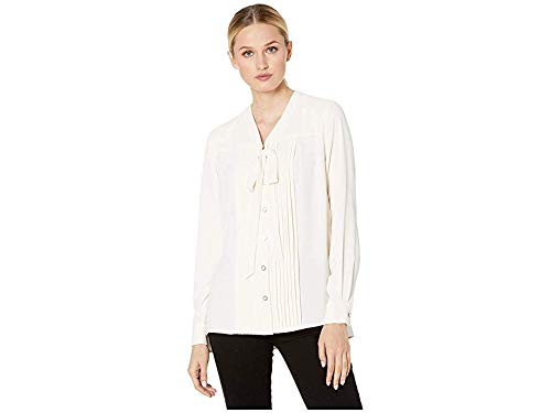 Anne Klein Women's Long Sleeve V-Neck Blouse with Bow Anna White 10