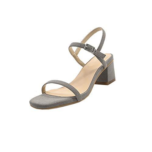 Gris Boucle Bloc Valxst Sandales Chaussures 5CM Femme Vaneel qw0zIW